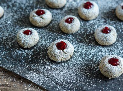 Raspberry Hazelnut Macaroons